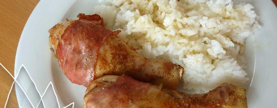 Pečené kuracie stehná s prosciuttom, ryža