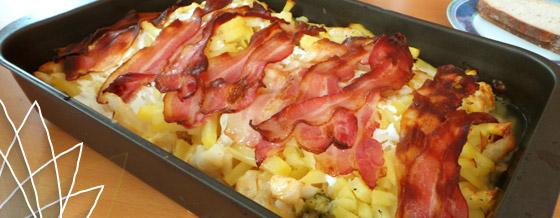 Zapekaný karfiol a brokolica so slaninou